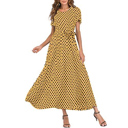Mikilon Women Summer Boatneck Polka Dot Print Short Sleeve Belted Loose Long Maxi Swing Dresses Yellow