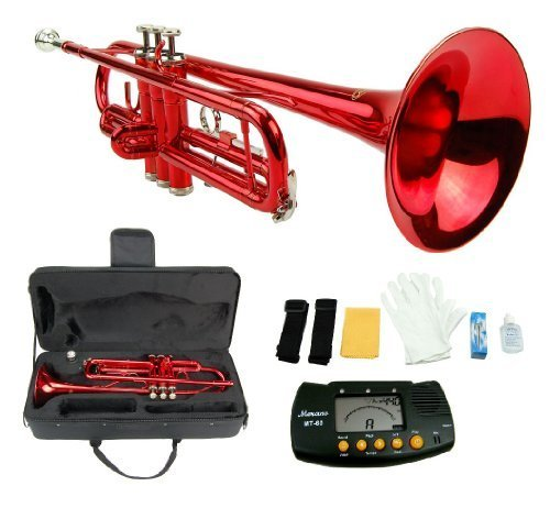 Merano B Flat RED / Silver Trumpet with Case+Mouth Piece+Valve Oil+Metro Tuner