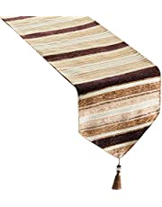 Topfinel Striped Table Runner Cloth with Tassels Dining Decoration for Wedding Dinner Party
