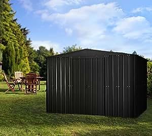 Globel Industries - Cobertizo para jardín de metal, 10 x 10 m, color negro antracita, 295 x 299 x 202 cm (anchoxprofundidadxalto), 9,5 m², con tejado de metal