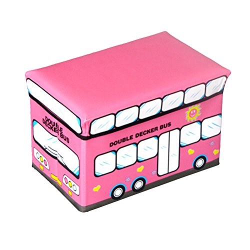 New Safari Bus Kids Folding Storage Bin Toy Box Clothes: OUNONA Toy Storage Organizer School Bus