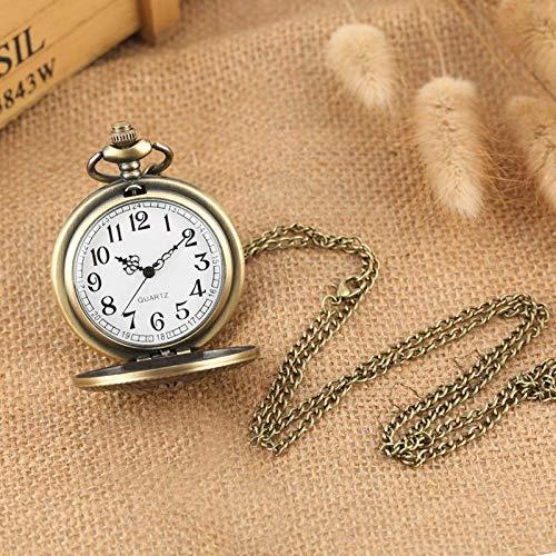 ZJZ Vintage fickur retro ihålig blomma formad kvarts vintage fickur antik hänge kedja klocka
