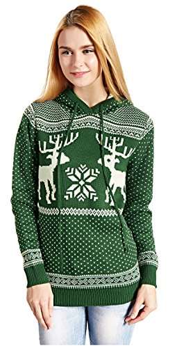 Women's Patterns of Reindeer Snowman Tree Snowflakes Christmas Sweater Cardigan (S, Green with Hood) (Best Fair Isle Sweaters)