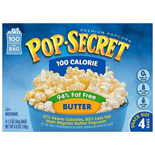 Pop Secret 94% Fat Free Butter Popcorn, 100 Calorie Pop, 4-Count (Calories Microwave Butter Popcorn)