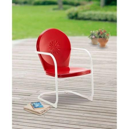 Mainstays Retro C-Spring Metal Chair, Red (Patio Retro Chair)