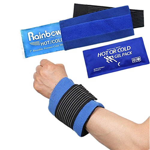 Set of 2 Wrist Ankle Pain Relief Ice cold Pack & Wrap, Hot Cold Therapy Compress for Tennis Elbow Tendonitis, Therapeutic Pad for Sports Injuries, Carpal Tunnel Syndrome, First Aid, Neck, Knee, Arm ()