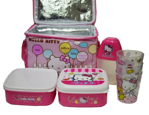 7 Pieces Hello Kitty Lunch Box Set with Insulated Lunch Bag
