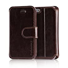 Belemay iPhone SE Case, iPhone 5S Case, iPhone 5 Case, Genuine Leather Case Wallet, Flip Cover with Magnetic Closure, Credit Card Slots, kickstand, Money Pouch for iPhone SE / 5S / 5 - Coffee Brown