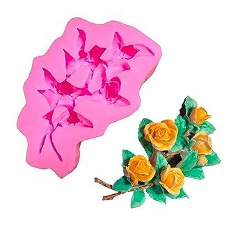 zmigrapdn - Molde de silicona con diseño de flores, para fondant y tartas, molde para chocolate, herramienta de decoración para hornear Random Color: ...