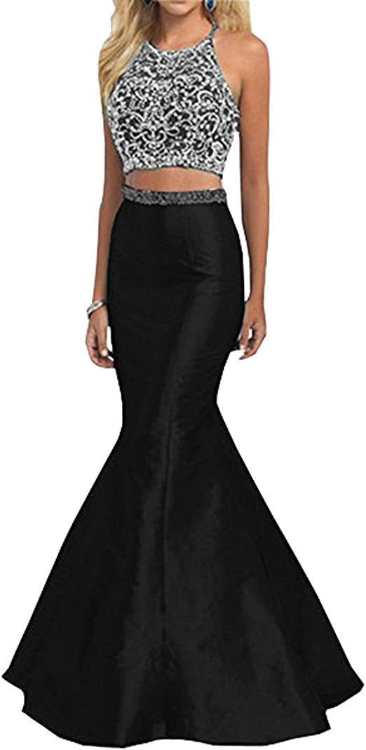 Halter Top Prom Dresses 8th Grade Two Piece Halter Beaded ...