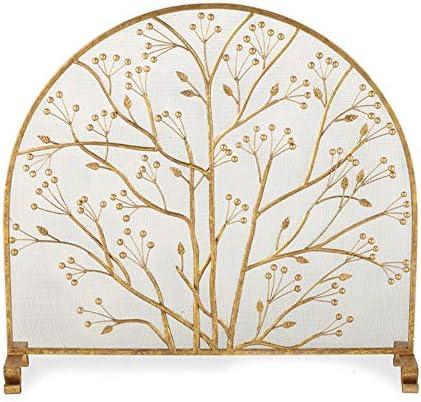 暖炉スクリーン 屋内/屋外の装飾のための金の単一パネルの暖炉スクリーン、居間の金属の網カバーは設計装飾の安全なフェンス、96×90cmを去ります