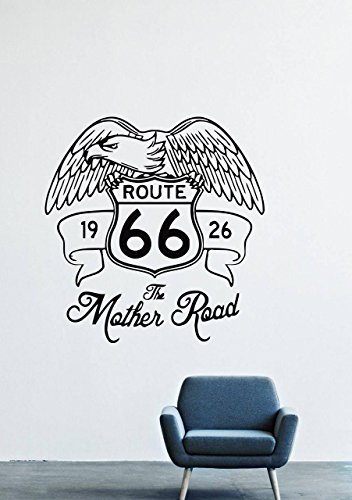 Eagle Route 66 - Wall Decals Decor Viny Animal Bird Eagle Flying Wings Feathers Hawk Predator 66 1926 Route GMO0997