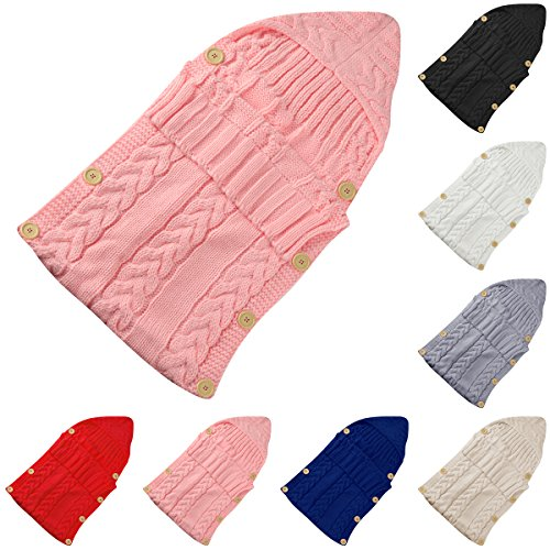 Colorful Newborn Baby Wrap Swaddle Blanket, Oenbopo Baby Kids Toddler Knit Blanket Swaddle Sleeping Bag Sleep Sack Stroller Wrap for 0-12 Month Baby (Pink)