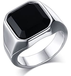 mealguet jewelry fashion stainless steel signet rings with black agate for men