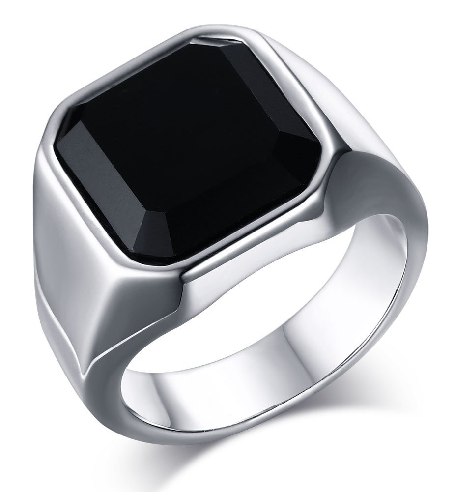 Mealguet Jewelry Fashion Stainless Steel Signet Ring with Black Agate for Men, Size 12