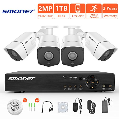 Cheap [Full HD] Security Camera System 1080P,SMONET 4 Channel Home Security Camera System(1TB Hard Drive),4pcs 2MP Outdoor Cameras,Super Night Vision,P2P,Easy Remote View,Free APP,NO Monthly Fee