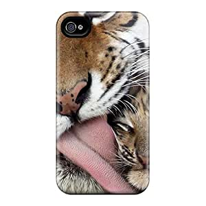 New Fashion Premium Tpu Case Cover For Iphone 4/4s - Tiger And Baby