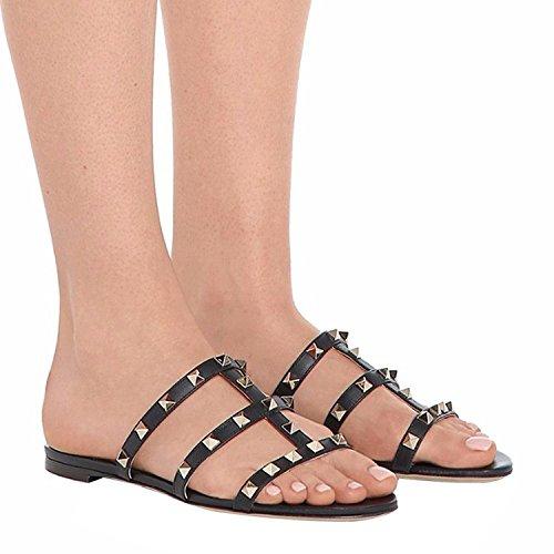 con Espalda Negro T Slides sin Gladiador Strappy Mules Rockstud Chris Sandalias Mujeres Tachuelas Zapatillas Rivets Flats Vestido vqWfxxTw7