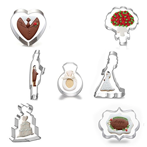 r Set - Set of 7 - Bridegroom, Bride, Bouquet Flower, Diamond Ring, Plaque Frame, Wedding Cake, and Heart - in Durable Stainless Steel (Groom Cookie Cutter)
