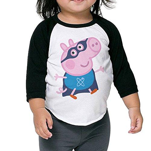 Children Peppa Pig George Pig Cosplay 3/4 Raglan Shirts Jersey Shirt (Tarzan And Jane Kid)