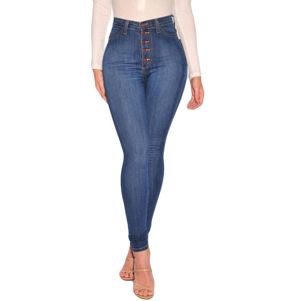 TIFIY Women/Ladies Fashion Plus Size Hole High Waist Button Fly Leggings Skinny Jeans Pencil Pants Clearance Office Lady OL Trouser Autumn Winter 2018 TIFIY-Leggings-0804