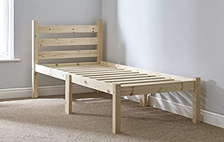Single Pine Bed Frame   2ft 6 Small Single Wooden Bed Frame Only:  Amazon.co.uk: Kitchen U0026 Home