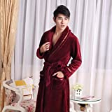 LJ&L Thicker flannel couple breathable gowns corridor comfort bathrobe fashion loose Bathrobes,Men,L