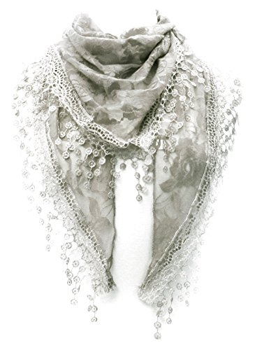 LL Womens Gray Triangle Head Scarf Rose Lace Scarf with Flower Tassels Church by BSB