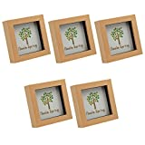 Nicola Spring Light Wood Effect 4x4 Box Photo Frame - Standing & Hanging - Pack of 5