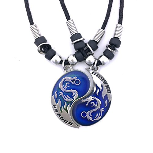 "Tapp Collectionsâ""¢ Dragon Yin Yang 2 Mood Pendant Necklaces Set"