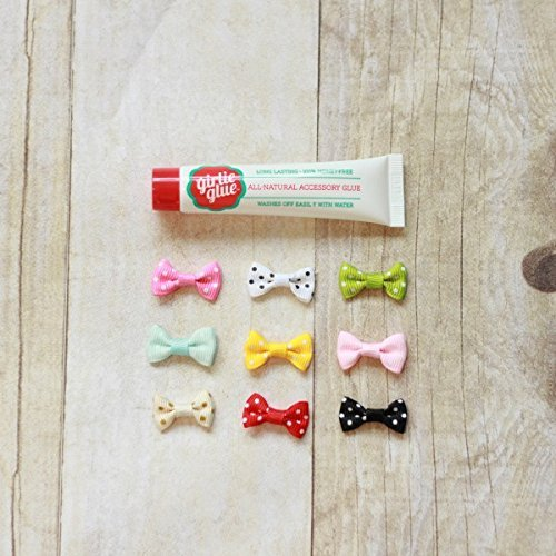 Stick On Baby Bows (Girlie Glue and 9 Newborn Bows for Babies & Pets)
