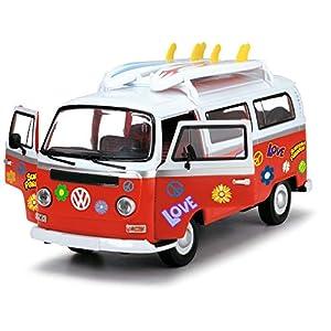 Dickie Toys Surfer Van, VW Bus mit Surfbrettern, Bully, Spielzeug Van, Türen zum Öffnen, Sticker zum Bekleben, 32 cm, ab…