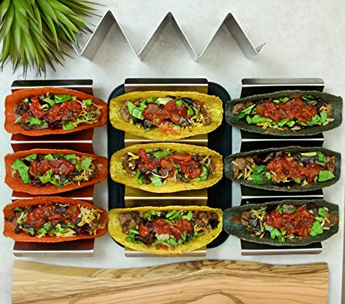 Premium stainless steel taco holder with placement mat by Verione Inc (Image #8)