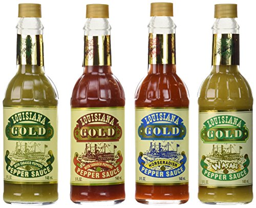 Louisiana Gold Hot Pepper Sauce Sampler Pack of 4 Different Flavors - Louisiana Gold Red Pepper