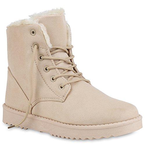 Stiefelparadies Damen Stiefeletten Winter Boots mit Plateau Kunstfell  Profilsohle Flandell Creme