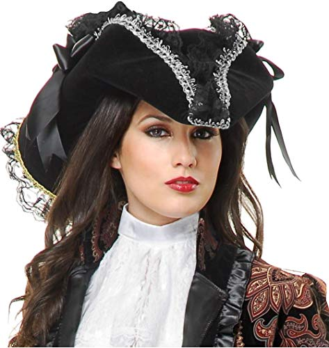 Charades Deluxe Black and Silver Velvet Adult Costume Pirate Hat with Feather and Ribbon