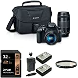 Canon EOS Rebel T6 Digital SLR Kit with 18-55mm and 75-300mm Lenses, 32GB Memory Card, Extra Battery and Lens Filter