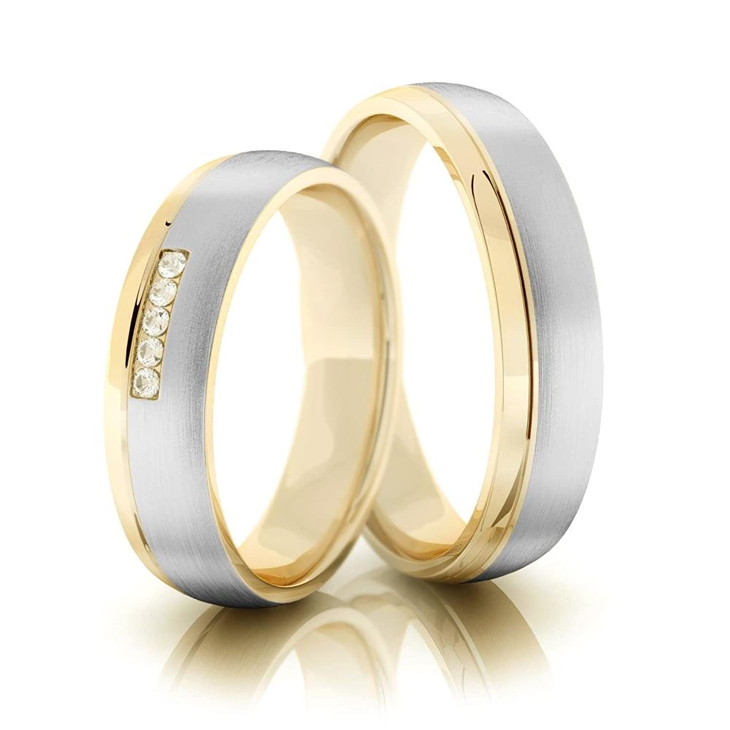 14k Gold Brush Low Dome Grooved Couples Wedding Bands 0.05 Carat Diamond 5mm