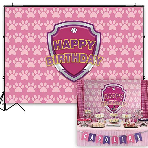 Funnytree 7x5ft Pink Puppy Dog Paw Backdrop Baby Girls Cartoon Birthday Pet Theme Party Banner Kids Photography Background Step and Repeat Cake Table Decorations Photo Booth Props