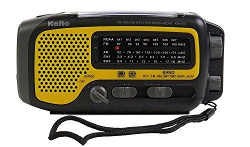 Kaito KA350 Solar Crank AM FM Shortwave Weather Radio Yellow