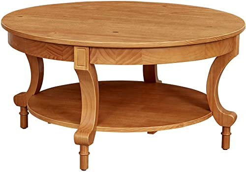 Ravenna Home Traditional Solid Pine Coffee Table, 19 H, Oak Finish