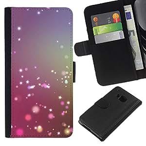 KLONGSHOP // Tirón de la caja Cartera de cuero con ranuras para tarjetas - estrella brillante ilumina el sol brillante de color púrpura - HTC One M9 //