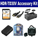 Sony HDR-TD30V Camcorder Accessory Kit includes: SDNPFV50NEW Battery, SDM-109 Charger, SD32GB Memory Card, SDC-27 Case, HDMI6FM AV & HDMI Cable, LED-70 On-Camera Lighting