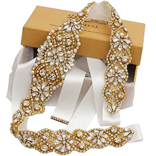 Bridal Rhinestone Wedding Belts Hand Clear Crystal 22In Length For Bridal Gowns (Gold-Off White)
