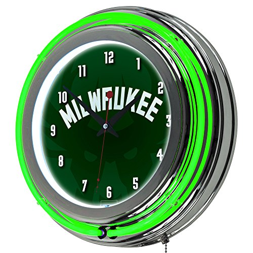 Trademark Gameroom NBA1400-MB2 NBA Chrome Double Rung Neon Clock - Fade - Milwaukee Bucks