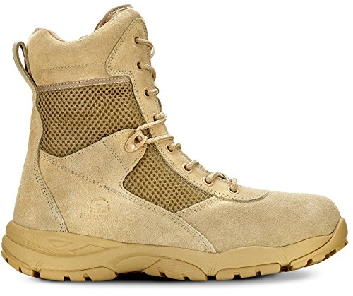 Maelstrom LANDSHIP 2.0 8'' Men's Tan Tactical Boots with Zipper – Military, Work & Tactical Boots – Athletic, Breathable, Durable, Comfortable & Lightweight Boots for Men, Tan, Size 10.5M