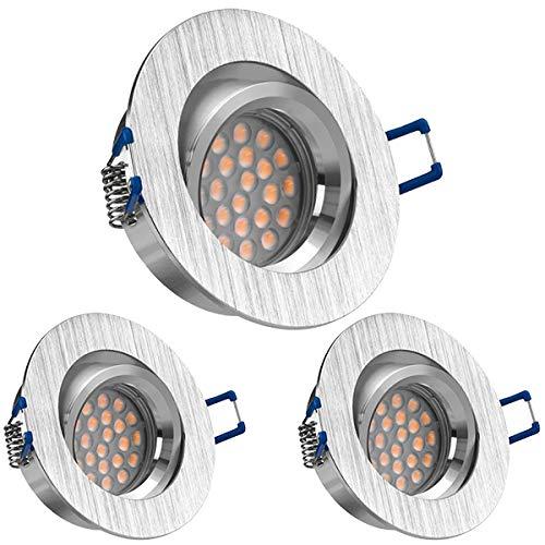 3er LED Einbaustrahler Set Bicolor (chrom gebürstet) mit LED GU10 Markenstrahler von LEDANDO - 5W - schwenkbar - warmweiss - 60° Abstrahlwinkel - A+ - 50W Ersatz - LED Einbauleuchte 5 Watt