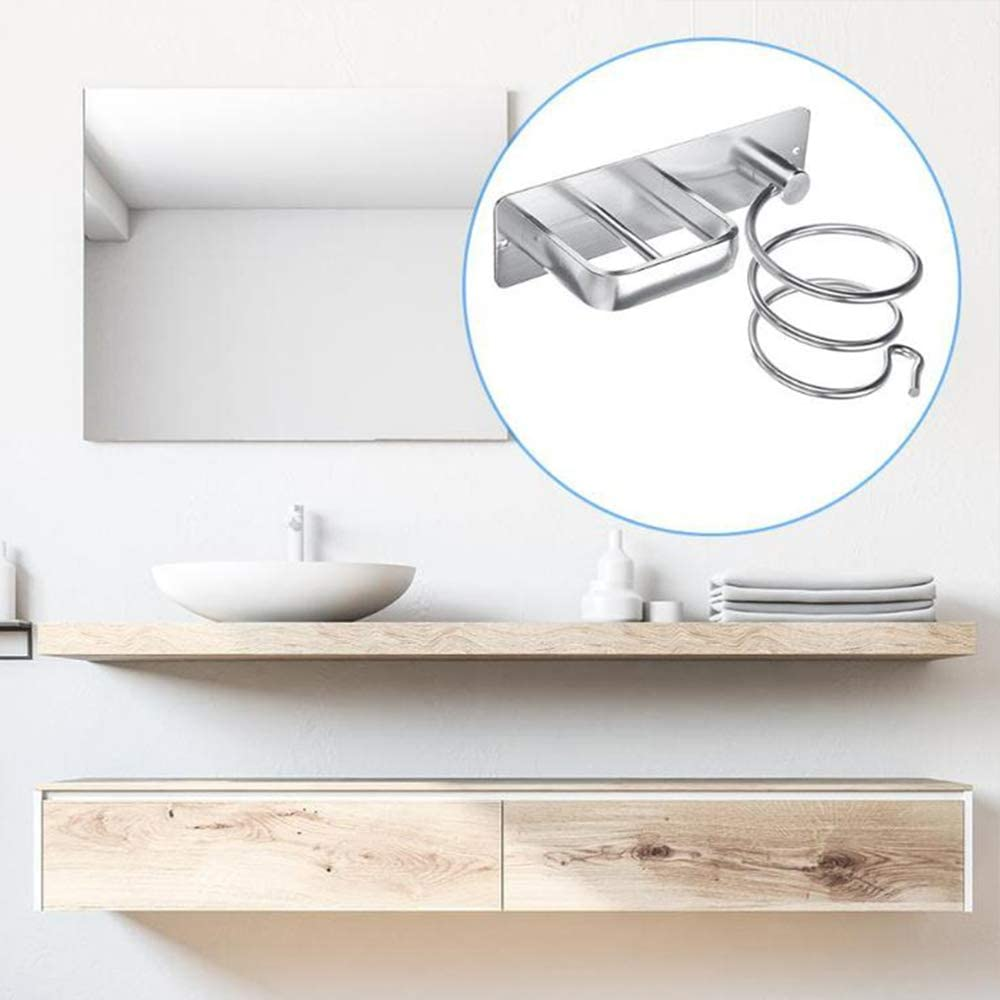 Silver Professional Aluminum Wall Mounted Blow Spiral Hair Dryer Holder Shelf Rack Stand Hanger Straightener Organizer Storage harupink Hair Dryer Straightener Holder With Cable Tidy