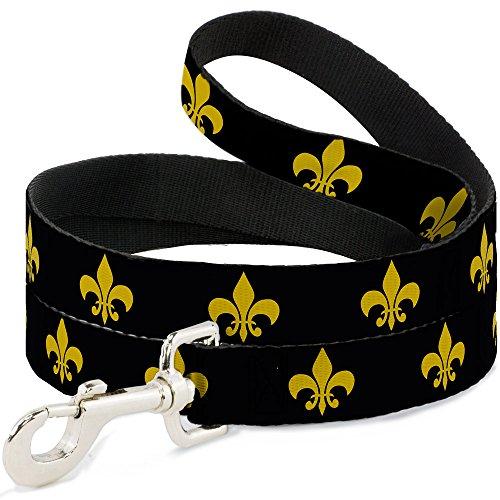 - Dog Leash Fleur De Lis Black Yellow 4 Feet Long 1.0 Inch Wide