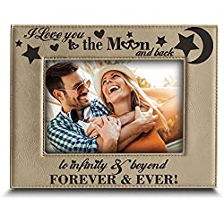 "BELLA BUSTA - I Love You to The Moon and Back, to Infinity and Beyond, Forever & Ever - Engraved Leather Picture Frame (4""x 6"" Horizontal)"